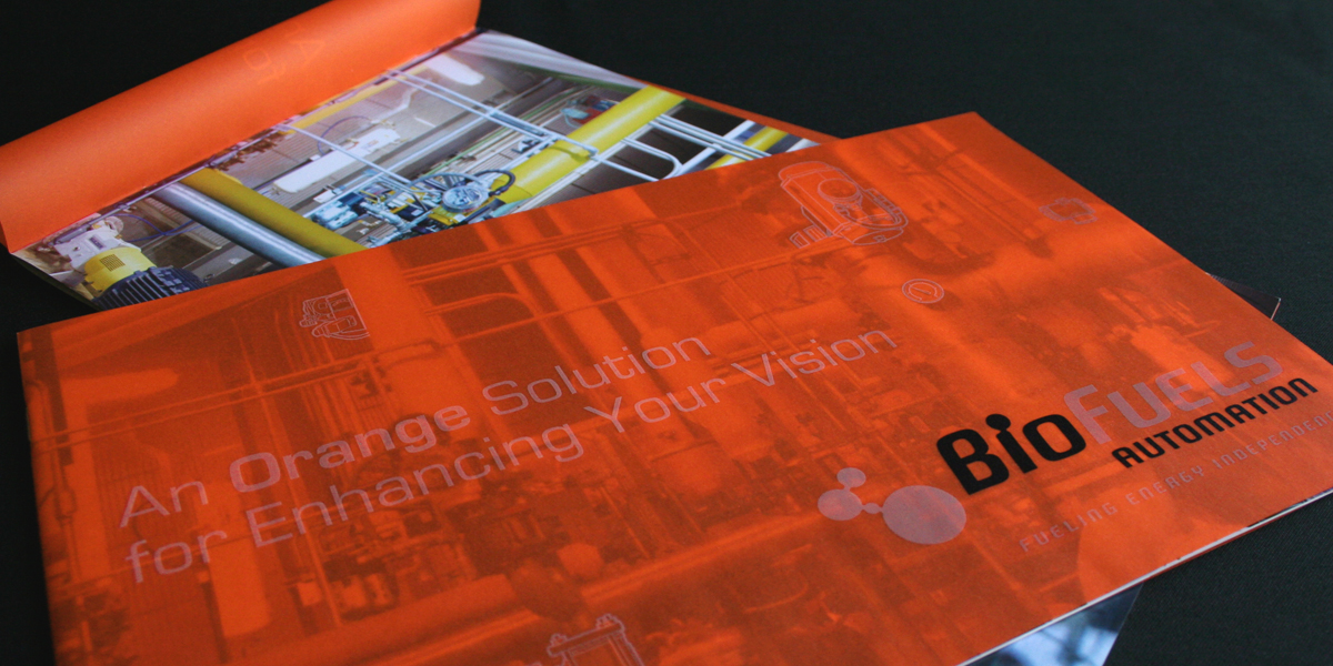 BioFuels Automation Capabilities Brochure using a translucent orange overlay to highlight company techonology.
